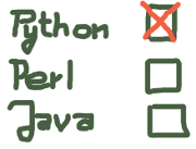 Python Perl Java Checkboxes